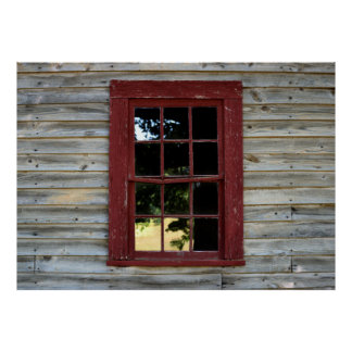 Vintage wood wall and window background poster