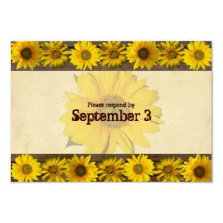 Vintage Wood Yellow Sunflowers rsvp 3.5x5 Paper Invitation Card