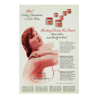 Vintage Woodbury DeLuxe Face Cream Ad from 1949 Poster