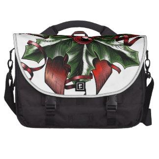 Vintage Woodcut Christmas Holly Bow Laptop Shoulder Bag