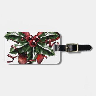 Vintage Woodcut Christmas Holly Bow Travel Bag Tag