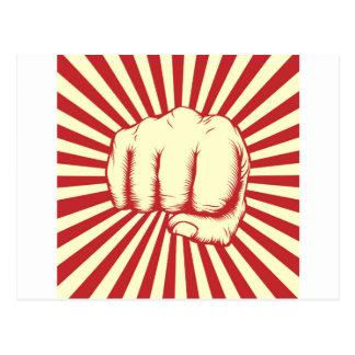 Vintage woodcut fist poster postcard