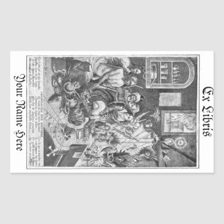 Vintage woodcut Sorcery Ex Libris Bookplate