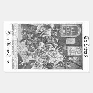 Vintage woodcut Sorcery Ex Libris Bookplate Rectangular Sticker