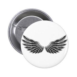 Vintage woodcut wings pinback button