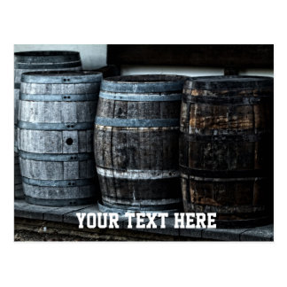 Vintage Wooden Barrels with CustomText Postcard
