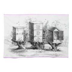 vintage wooden bee hives kitchen towel