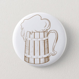 Vintage wooden beer glass pinback button