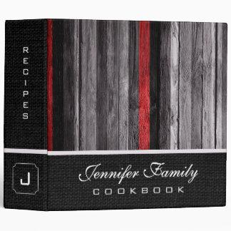 Vintage Wooden Family Recipes Burlap Look #11 3 Ring Binder