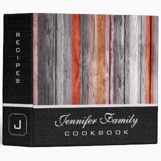 Vintage Wooden Family Recipes Burlap Look #4 Binder