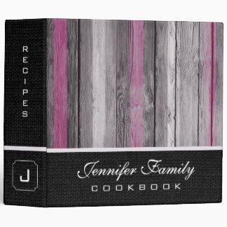 Vintage Wooden Family Recipes Burlap Look #7 3 Ring Binder