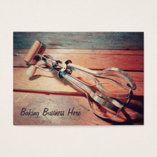 Vintage Wooden Hand Mixer Retro Inspired Business Card
