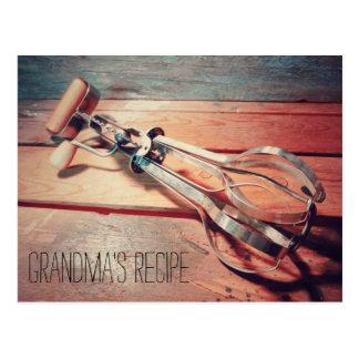 Vintage Wooden Hand Mixer Retro Recipe Card