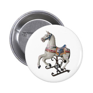 Vintage Wooden Horse Carousel Button