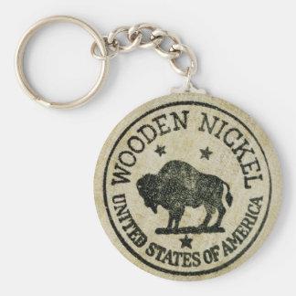 Vintage Wooden Nickel Basic Round Button Keychain