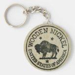Vintage Wooden Nickel Keychains