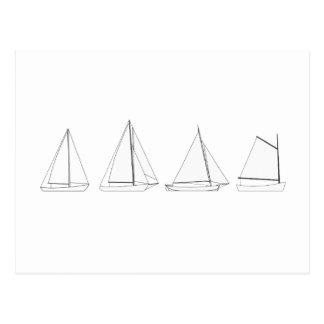 Vintage Wooden Sailboats Logo Postcard
