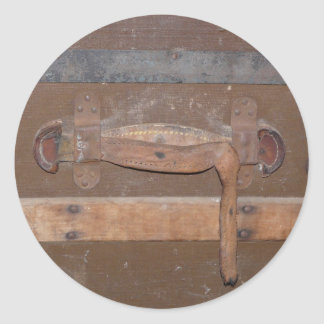 Vintage Wooden Trunk Classic Round Sticker