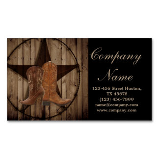 vintage woodgrain cowboy boots western country magnetic business card