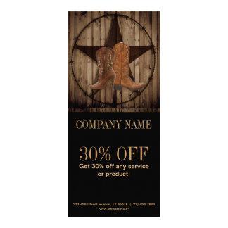 vintage woodgrain cowboy boots western country rack card