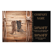 vintage woodgrain cowboy boots western fashion flyer