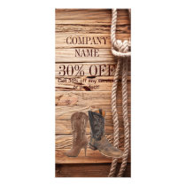 vintage woodgrain cowboy boots western fashion rack card