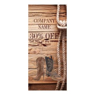 vintage woodgrain cowboy boots western fashion rack card