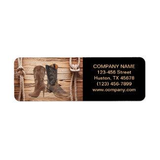 vintage woodgrain cowboy boots western fashion return address label