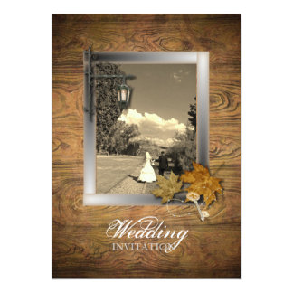 vintage woodgrain frame Country Wedding Invitation