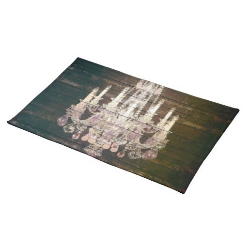 vintage woodgrain purple chandelier wedding place mat