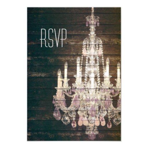 vintage woodgrain purple chandelier wedding RSVP Custom Invitation