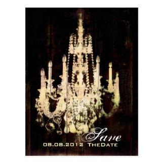 vintage woodgrain yellow chandelier SaveTheDate Post Card
