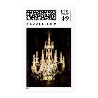 vintage woodgrain yellow chandelier wedding postage