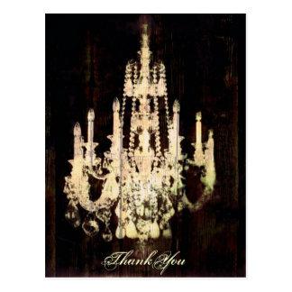 vintage woodgrain yellow chandelier wedding postcard