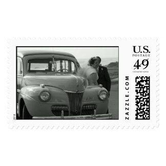 Vintage Woodie Wedding Stamps