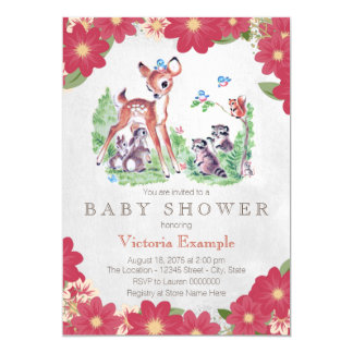 Vintage Woodland Baby Shower Card