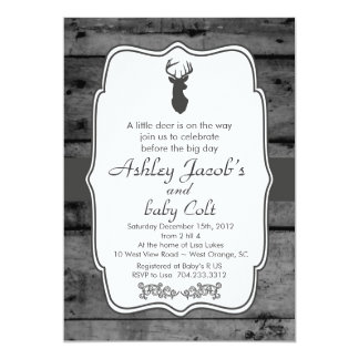 Vintage Woodland Bambi Baby Deer Baby Shower 5x7 Paper Invitation Card