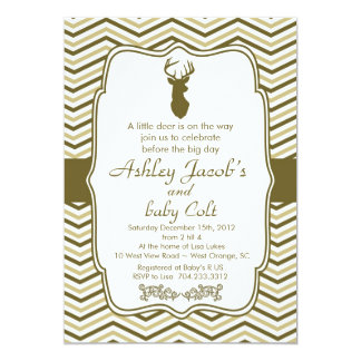 "Vintage Woodland Buck Baby  Baby Shower 5"" X 7"" Invitation Card"