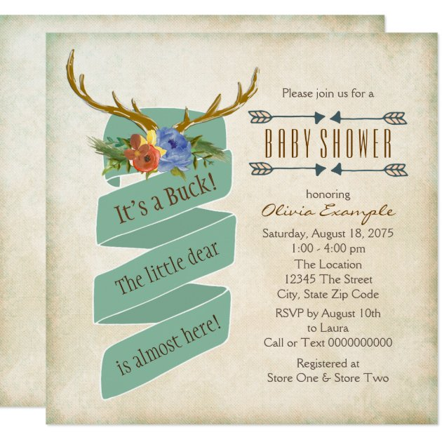 vintage woodland deer antler baby shower card | zazzle, Baby shower invitations