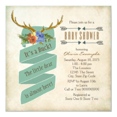 Vintage Woodland Deer Antler Baby Shower Card at Zazzle