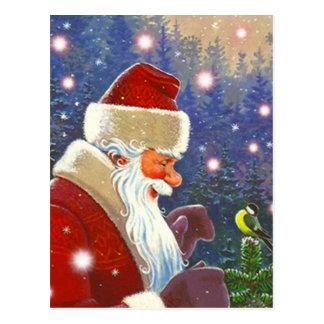 Vintage Woodland Santa & Chickadee Tree Topper Postcards