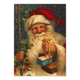 Vintage Woodland Santa Delivering Gifts Snowing Card