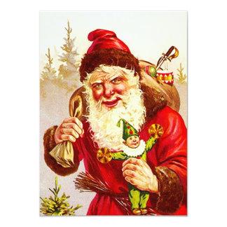 Vintage Woodland Santa Delivering Toys Doll Gifts Card
