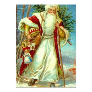 Vintage Woodland Santa Delivering Toys Tree Gifts Card