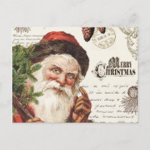 vintage woodland Santa Holiday Postcard