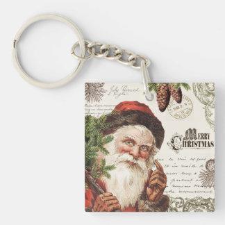 vintage woodland Santa Acrylic Key Chain