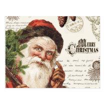 vintage woodland Santa Postcard