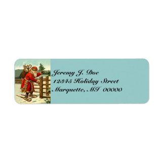 Vintage Woodland Santa w/ Snowshoes walking Labels