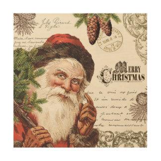 vintage woodland Santa Wood Print