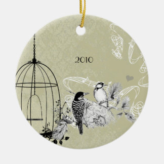 Vintage Woodpeckers & Bird Cage on Damask Christmas Tree Ornament
